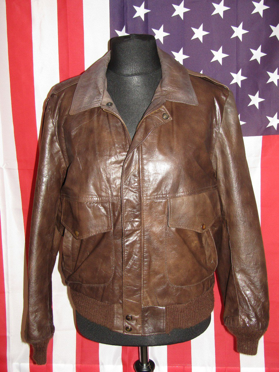 EXCELLED : Vintage Bomber Cuir Moto Size S